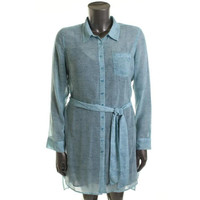 Guess Womens   Chiffon Hi-Low Shirtdress