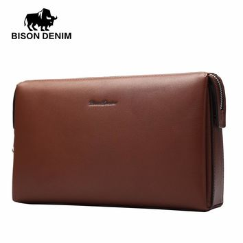 Genuine Leather Men Clutch Wallets Fashion Zipper Male Wallet Men Purse Long Phone Wallet Men's Clutch Bag