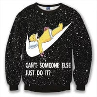 Can't Someone Else Just Do It Crew Neck Sweatshirt Men & Women Nike Homer Simpson The Simpsons Homer In Space Harajuku Style All Over Print Black Sweater