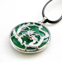 Green Jade Circle Shape Silver Tone Dragon Phoenix Pendant Necklace