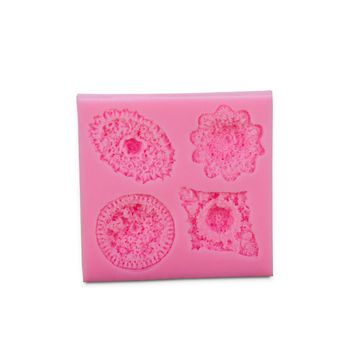 4 Lattices 3D Shaped Silicone Fondant Mold DIY Decorating Supplies Tool for Cake Pudding Chocolate Soap Polymer Clay