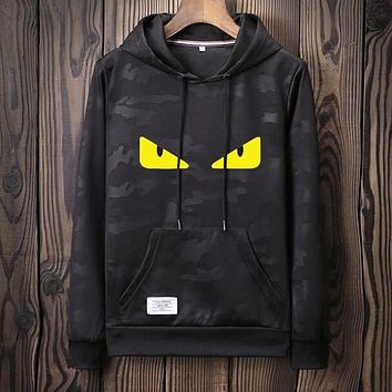FENDI Fashionable Women Men Casual Print Camouflage Hoodie Sweater Top Sweatshirt Black