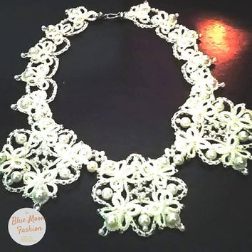 Wedding Bridal Necklace Unique Tatting Frivolte Czech Beads Pearls Lace Handmade Crystals Cotton Magic White