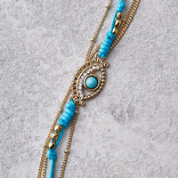 AEO Gold & Turquoise Evil Eye Anklet, Gold
