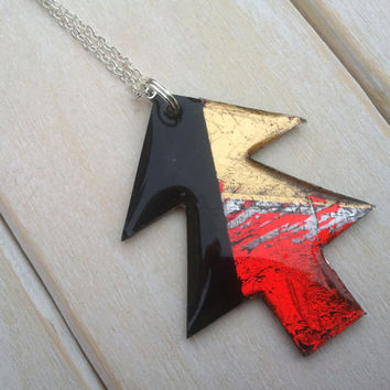 Christmas Tree Pendant - Vinyl Record Jewellery - Contemporary Jewellery - Vinyl Pendant