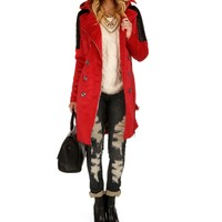 Red Belted Wool Faux Leather Coat