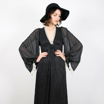 Vintage Angel Sleeve Dress Kimono Sleeve Wing Sleeve Maxi Dress Hippie Dress Black White Polka Dot Hippie Maxi Dress 70s XS S Extra Small
