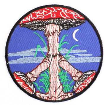 Moon Peace Sign Magic Mushroom Embroidered Iron On Patch 3""