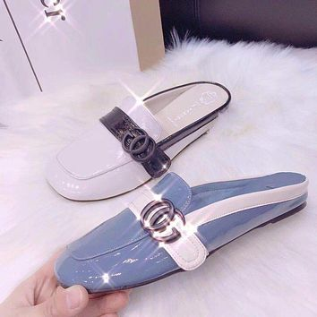 GUCCI Women Fashion Leather Slipper Mules Shoes Flats Shoes