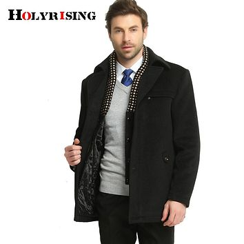 Winter Casual Woolen Jackets Classic Single Button Business Wool Coat Men Warm Outwear Khaki Black