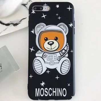 Moschino new star astronaut Teddy bear iPhone X mobile phone case cover Black