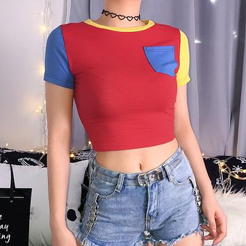 Women Personality Multicolor Short Sleeve Tight T-shirt Crop Tops Tee
