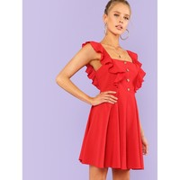 Red Strap Sleeveless Fit & Flare Ruffle Dress