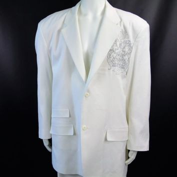 ATTI Mens White Church Suit Silver Foo Dogs Embroidery Matching Cuffed Trousers