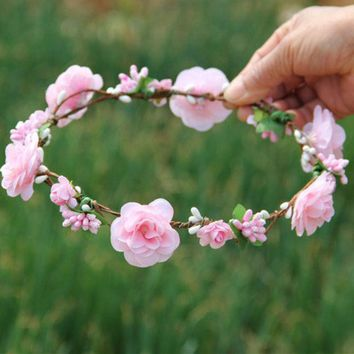 CREYCI7 Handmade Peach Flower Crowns Hair Flower Tiara Wedding Woman Girls headband Hair Accessories Bridal Pink Flower Wreath