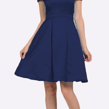 Off Shoulder A-line Homecoming Dress with Pockets Navy Blue