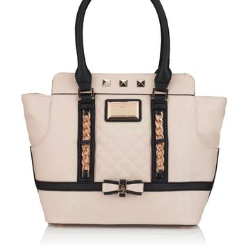 Lipsy Chain Bow Tote - cream tote bag