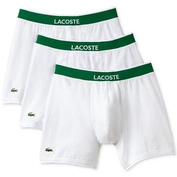Lacoste Men's 3 Pack Cotton Stretch Boxer Briefs  $10 off for Correctional Facilities