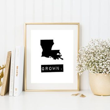 Louisiana wall art, Louisiana sign, home state signs, personalized home decor, black and white state map, Louisiana map print, custom gifts