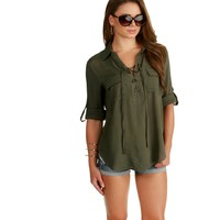Olive Lace Me Up Shirt