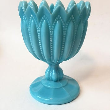 Blue Milk Glass Compote Portieux Vallerysthal French Glass, Blue Milk Glass Made in France