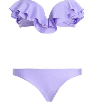 New Summer Sexy Women bikini Solid Color swimsuit ruffles Swimwear -0711