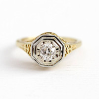 Vintage Diamond Ring - 14k Yellow & White Gold .30 CT Old Mine Cut - 1920s Size 3 1/2 Filigree Bridal Engagement Fine Apprasial Jewelry