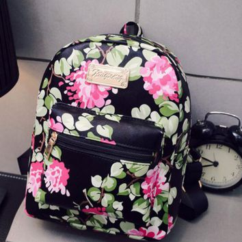 Small Leather Womens Floral Print Backpack Travel Bag