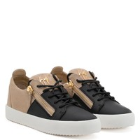 Giuseppe Zanotti Gz Double Black Calf Leather And Beige Suede Low-top Sneaker - Best Deal Online