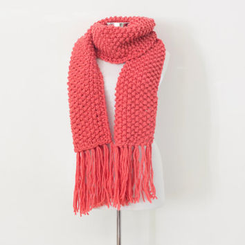 Pink knit scarf, long tassel scarf, warm winter scarf, gift for her