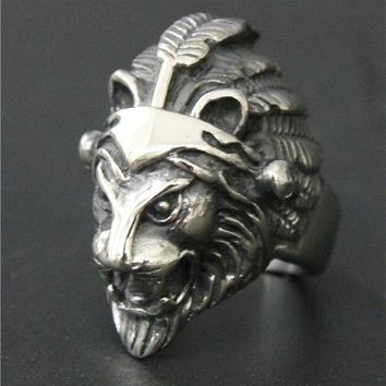 Men's Cool Biker Indian Lion Ring- Stainless Steel Jewelry - Ships free