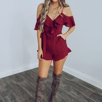 Just With Me Romper: Burgundy