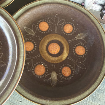 3 Retro stoneware dinner plate, vintage brown orange yellow dishes, 1970s stoneware dishes, retro brown table ware dishes, orange circles