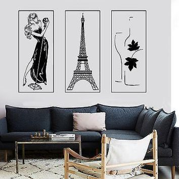 Wall Vinyl Paris Eiffel Tower Bottle Of Wine Sexy Woman Singing Girl Lady Unique Gift z2853