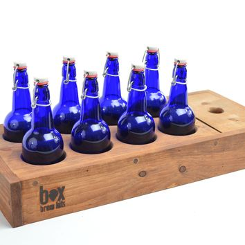 Box Brew Kit caddy with 8 cobalt blue flip-top bottles