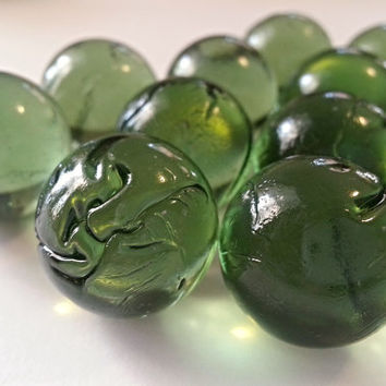 Vintage Primitive Green Glass Marbles -old german germany handmade hand blown pontil irregular imperfect rustic