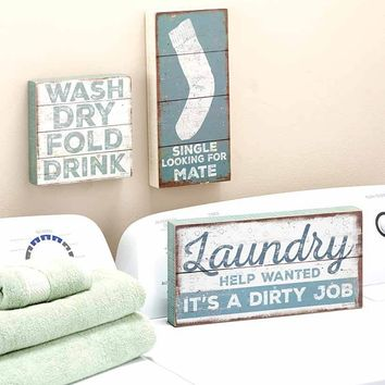 Laundry Room Wall  Sign Plaque Art Humorous Distressed Finish Blue & White