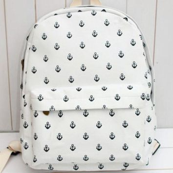 Cute Striped Plaid Animal Lovely Stripes Korean Canvas Floral Backpack = 4888062276