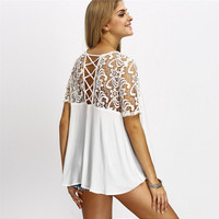 Lace Crochet Panel Short Sleeve Flounced T-Shirt