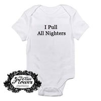 I Pull All NIghters Embroidered Baby Bodysuit - Choose Size and Color - BUy 3 Get 1 Free