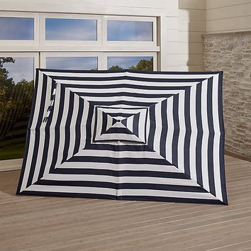 Rectangular Sunbrella ® Cabana Stripe Umbrella Navy Canopy