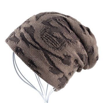 Casual bonnet Skull pattern hat for men beanies Knitted wool plus velvet bone Turban Cap Men's winter hats women's hat gorro cap