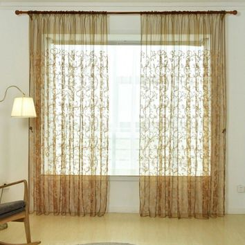 French Romantic Shiny Butterfly Embroidery Voile Curtains Window Home Textile Panel Bedroom Curtains
