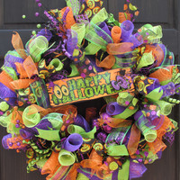 Happy Halloween Orange, Green & Purple Deco Mesh Wreath