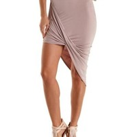 Sphinx Draped Asymmetrical Skirt by Charlotte Russe