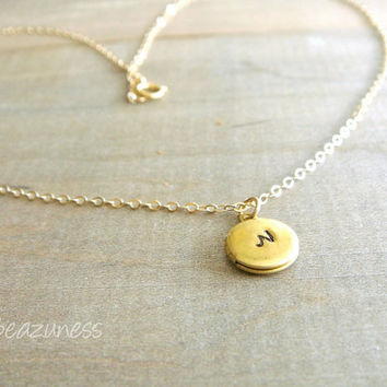 Tiny Locket Necklace in Gold and Brass - Personalized Hand Stamped Initial - Bride, Bridal, Bridesmaid gift, Wedding, Mother's Day