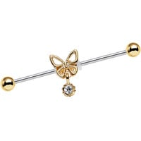 14 Gauge Clear Gem Ornate Butterfly Industrial Barbell 38mm