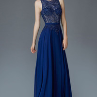G2103 Sheer Illusion Beaded Top Chiffon Prom Dress Evening Gown