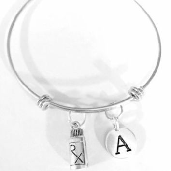 Adjustable Bangle Charm Bracelet RX Medicine Bottle Nurse Pharmacy Initial Gift