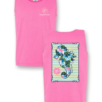 Sassy Frass Seahorse Starfish Pattern Comfort Colors Bright T Shirt Tank Top